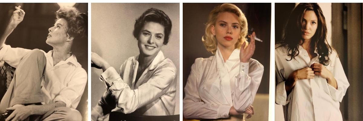 """Libri & Outfit - Attrici famose che indossano camicie bianche. Foto tratte dal volume """"Fashion Box"""" edito da Contrasto."""