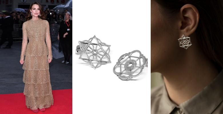Keira Knightley, personalità ROMANTICA abbinata agli orecchini silver Co.Ro. Jewels