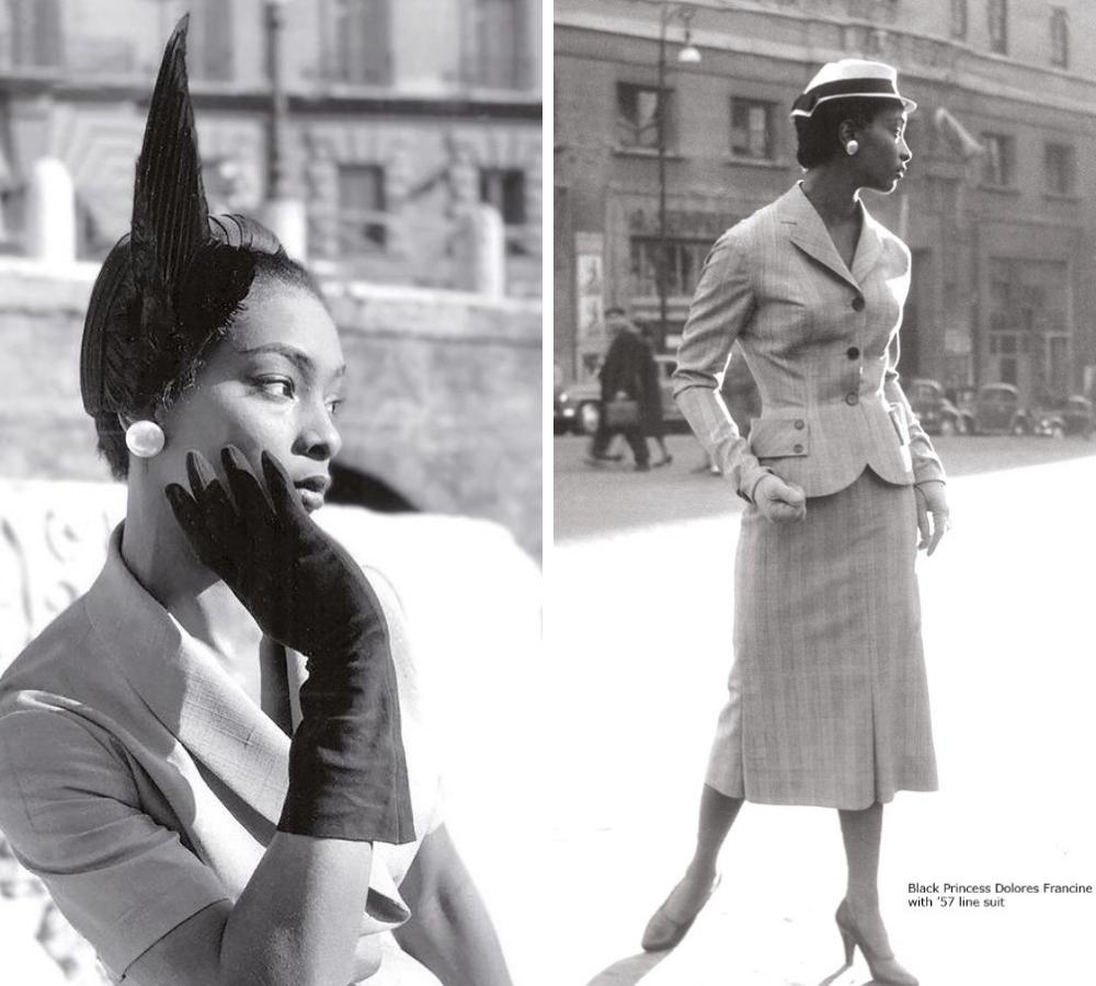 La modella Dolores Francine Rhineey in tailleur Ferdinandi
