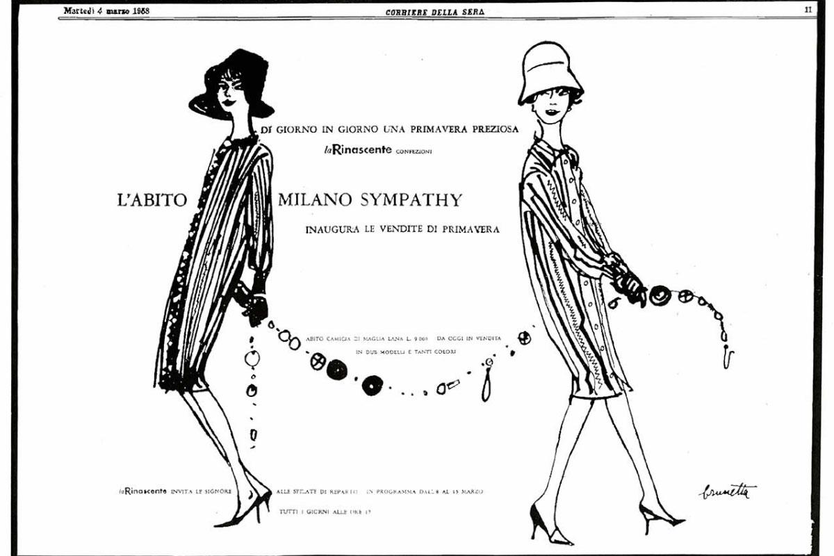 Pagina pubblicitaria Missoni Corriere della Sera 1958